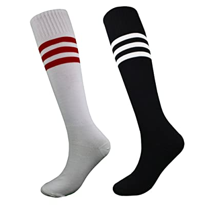 Mkkoluy Unisex Long Athletic Socks Tube Knee High Sports Socks 2 Pairs