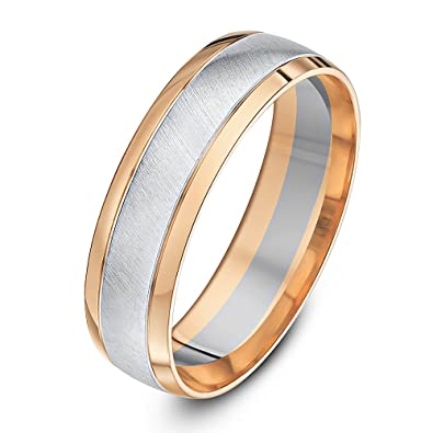 Theia Two Colours 9ct White and Rose Gold Court Shape Matt Centre 6mm Wedding Ring dFYW1hBjW