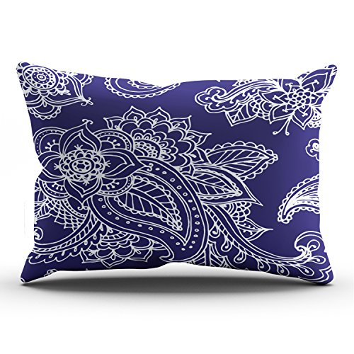 Paisley Satin Pillowcase - Hoooottle Custom Navy Bluellustrated Bohemian Paisley Henna Modern Pillowcase Rectangle Zippered One Side Design Printed 12x24 Inch Lumbar Throw Pillow Case Cushion Cover