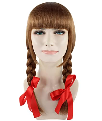 Annabelle Movie Brown Cosplay Party Costume Wig Peluca HW-1094 Adult