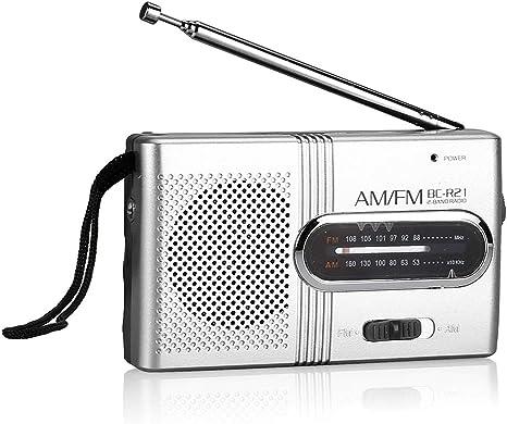 Pywee Regard BC R21 Mini portátil Am FM Radio de Bolsillo Receptor Mundial Antena telescópica Radio Altavoz Funciona con Pilas