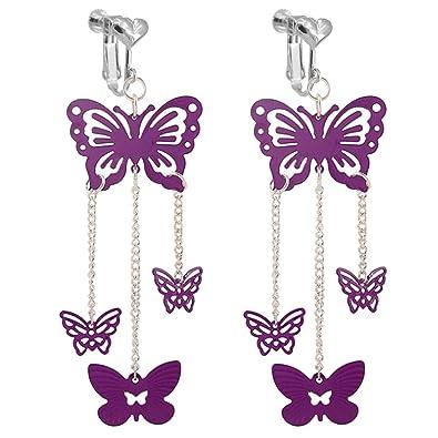 138190dd3185 Pendientes de mariposa morada con cierre de clip en forma de corazón para  niñas y mujeres con cadena larga de animales y joyas colgantes  Amazon.es   Joyería
