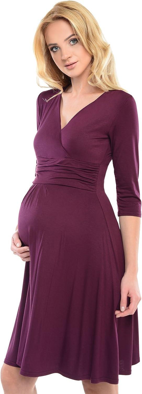 Purpless Damen Umstandskleid Schwangerschaft Kleid V-Ausschnitt Mit 3//4 /Ärmeln Umstandsmode D4400