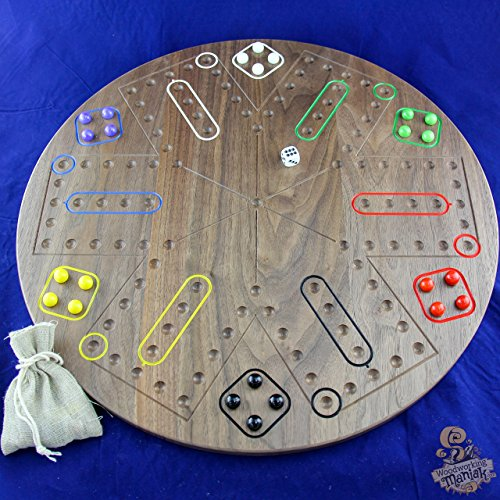 6 Player Wahoo/Aggravation Board Game in Local Hardwoods. 20 Diameter – Handmade in Your Choice of Walnut (Pictured), Maple, or Cherry