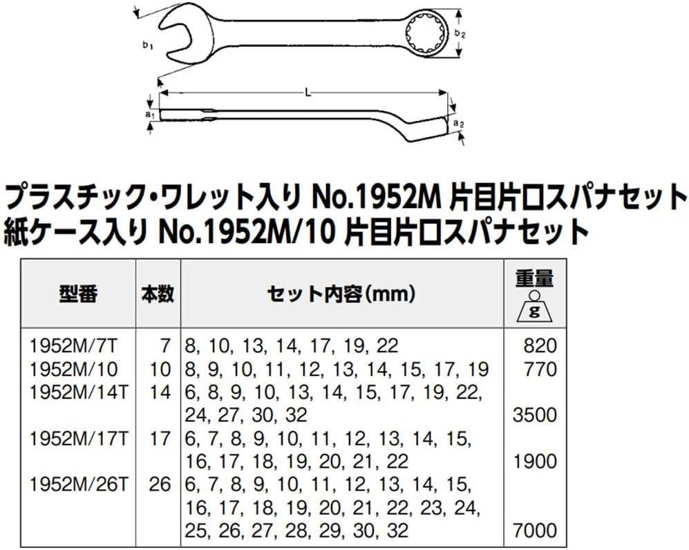 Multi-Colour Bahco 1952M//10 BH1952M//10-320 Combination Wrench Set D3113B 10-Pieces