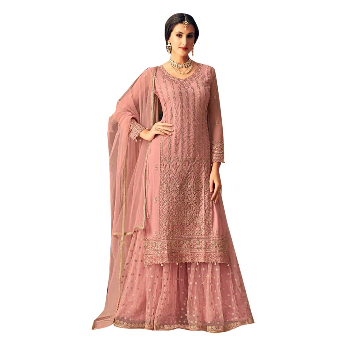 c90765aa8d Muslim Fashion Heavy Net Sharara Party Wear Suit 7254: Amazon.in: Clothing  & Accessories