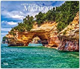 Michigan, Wild & Scenic 2019 12 x 14 Inch Monthly Deluxe Wall Calendar, USA United States of America Midwest State Nature