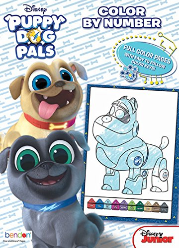 - Bendon Puppy Dog Pals 48-Page Color by Number Coloring Book with Full-Color Border Guide