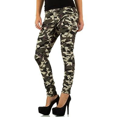 c1eab7dd6ebab6 Ital-Design Camouflage Boyfriend Skinny Jeans Für Damen: Amazon.de ...
