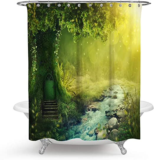 Fairy Tale Forest Scenery Shower Curtain Liner Waterpoof Fabric Bathroom Mat 72/""