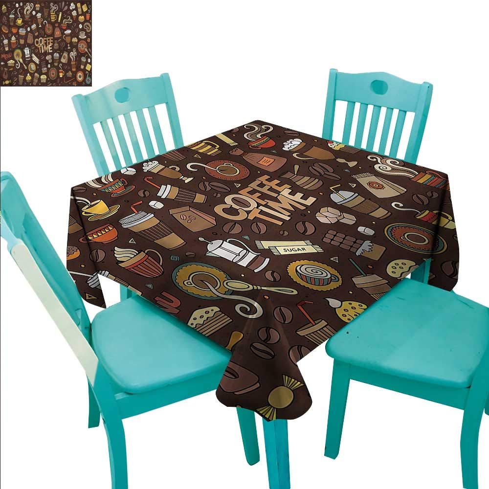 RenteriaDecor エレガントにデザインされたクリスマステーブルクロス コーヒー キッチン ダイニング テーブルトップ 装飾 新鮮な醸造エスプレッソ 60インチx60インチ 36