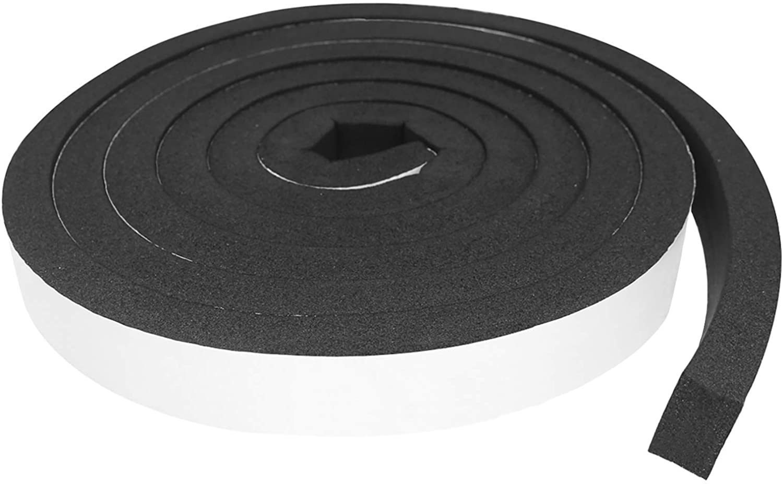V Shape Foam Self-Adhesive Seal Strip,Weatherproof Soundproof Door Sealing Sticker for Windows Doors Gaps of Anti-Collision and Side Black