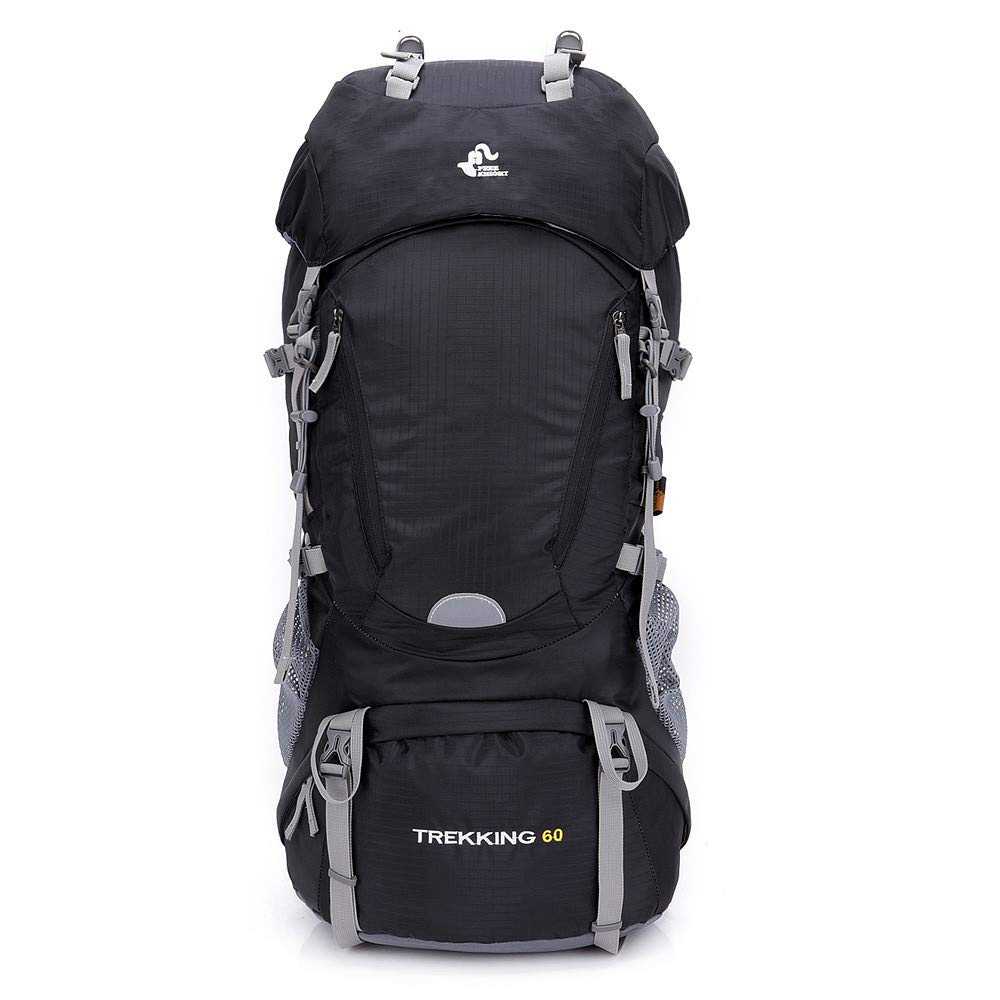 TechCode Trekking Daypack, Large 60L Lightweight Women Men Backpack Durable Daypack Water Resistant Outdoor Rucksack Packs for Hiking Travel Climbing Camping Mountaineering with Rain Cover(Black)