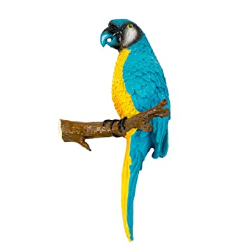 6 Stück Papagei Ara Gartenfigur Gartendeko Deko Vogel Zaundeko Baum Balkon
