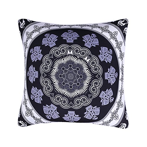 Sleepwish Mandala Pillow Cover, Bohemian Geometric Floral Ma