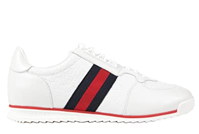 4b56f3e9a7522 Gucci men s shoes leather trainers sneakers micro gg white UK size ...