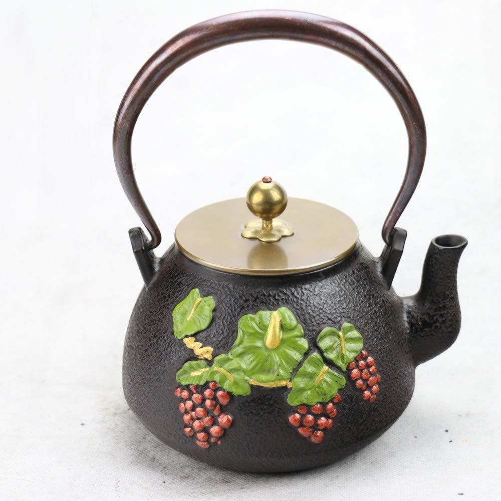 ZJN-JN キントー ティーポット 高級感 おしゃれ プレゼント 鋳鉄アイアン南日本鋳鉄鍋カタツムリ生アイアンポットケトル1.2Lお茶セット 贈り物