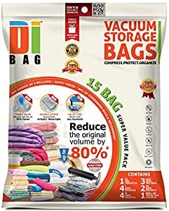 DIBAG 15 Bags Pack Vacuum Compressed Storage Space Saver Bags. 4 pcs 57 x 45cm+4 pcs 85 x 54cm+3 pcs 90 x 70cm+2 pc 60 x 50cm+1 pc 100 x 67cm+1 roll up vacuum 34 x 50 cm