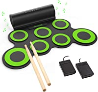 PAXCESS Electronic Drum Set, Roll Up Drum Practice Pad Midi Drum Kit with Headphone Jack Built-in Speaker Drum Pedals Drum Sticks 10 Hours Playtime
