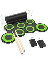 PAXCESS Electronic Drum Set, Roll Up Drum Practice Pad Midi Drum Kit with Headphone Jack Built-in Speaker Drum Pedals...