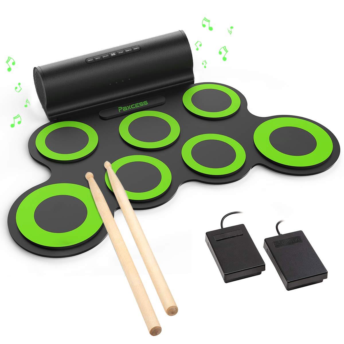 PAXCESS Electronic Drum Set, Roll Up Drum Practice Pad Midi Drum Kit with  Headphone Jack Built-in Speaker Drum Pedals Drum Sticks 10 Hours Playtime,