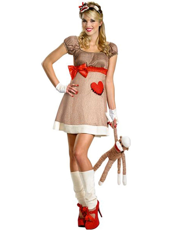 amazoncom disguise ms sock monkey deluxe costume clothing - Halloween Monkey Costumes