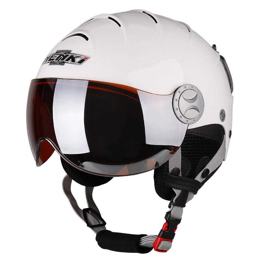 NENKI Helme NK-2012 Skihelm mit Visier für Damen und Herren zum Skifahren und Schneemobilfahren