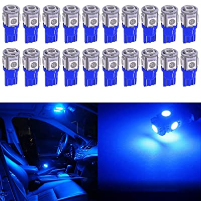 Qoope - Pack of 20 - Bright Blue 194 T10 168 2825 W5W Car Interior Replacement LED Light Bulb - 5th Generation 5050 Chipsets 5SMD Lighting Source for 12V License Plate Map Dome Lights Lamp (Blue): Automotive