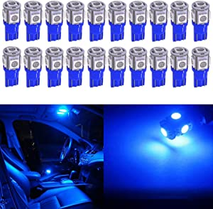 Qoope - Pack of 20 - Bright Blue 194 T10 168 2825 W5W Car Interior Replacement LED Light Bulb - 5th Generation 5050 Chipsets 5SMD Lighting Source for 12V License Plate Map Dome Lights Lamp (Blue)