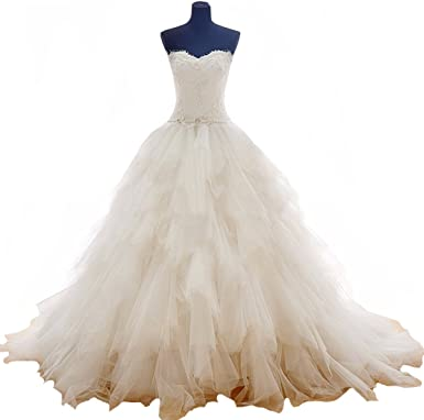 Fair Lady Romantic Sweetheart Ball Gown Wedding Dresses Ruffles