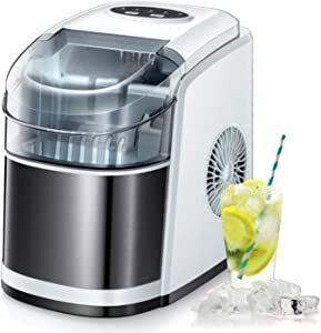 R.W.FLAME Ice Maker Machine for Countertop,Portable Ice Cube Maker with Self-Cleaning, 26LBS/24H Compact Automatic Ice Makers,9 Cubes Ready in 6-8 Minutes,Perfect for Home/Kitchen/Office/Bar (White)
