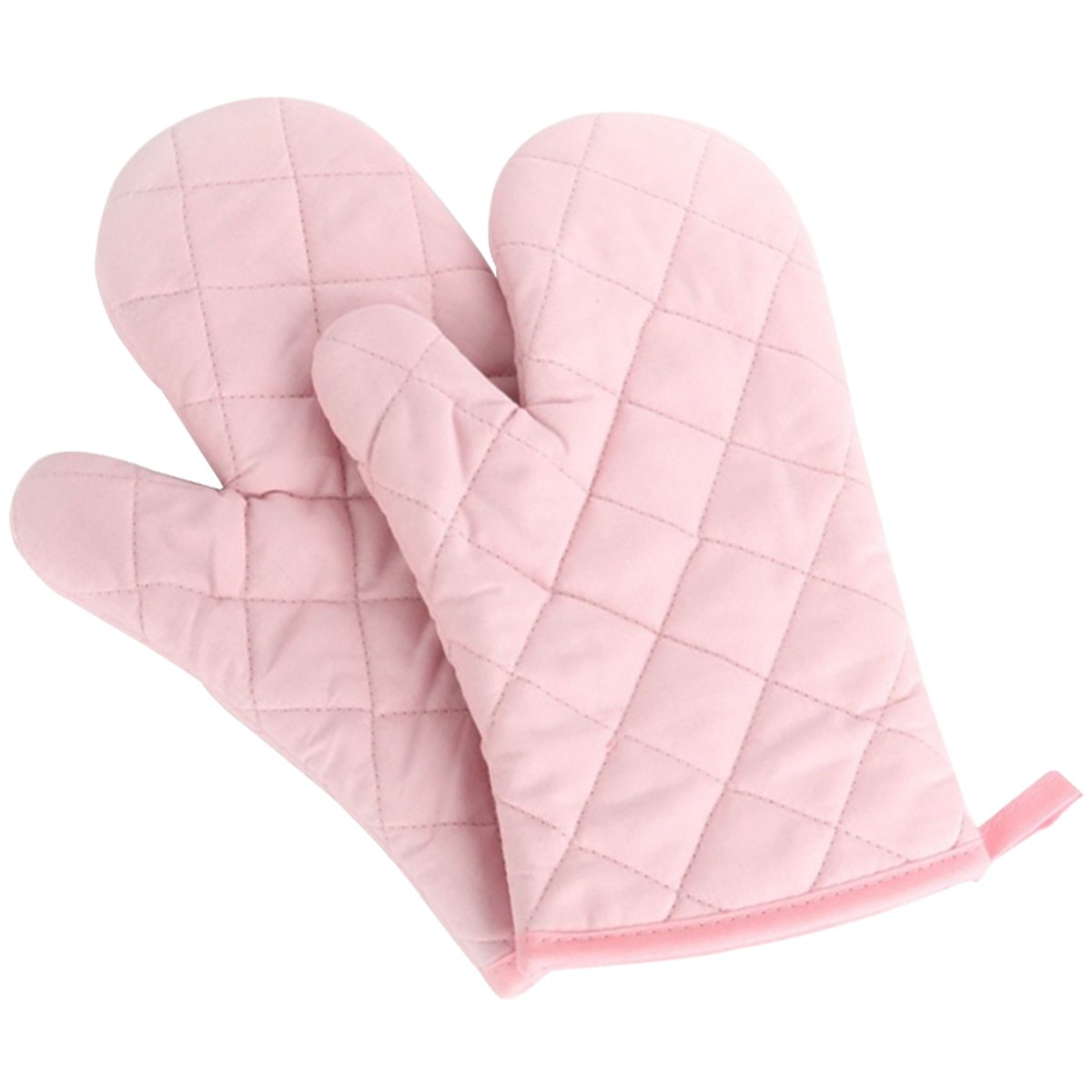Artmoki Oven Mitts Heat Resistant Baking BBQ Set of 2 Oven Gloves Cooking Grilling High Temperature Hand Protection, 11 X 5.9 Inches - Pink