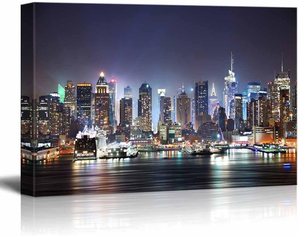 wall26 - City Skyline - New York City Manhattan Skyline Panorama at Night Over Hudson - 16x24