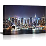 """Canvas Prints Wall Art - New York City Manhattan Skyline Panorama at Night over Hudson River with Refelctions Viewed from New Jersey 