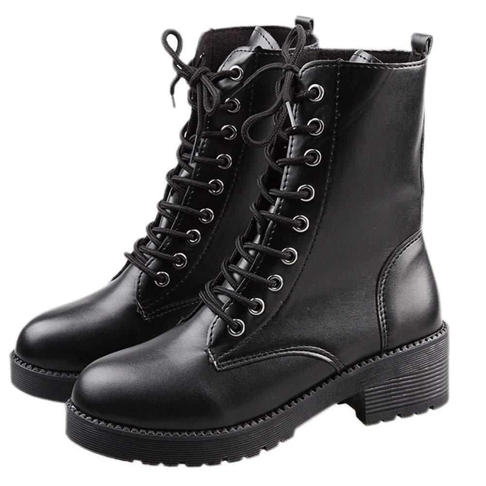 YMFIE Die dicken und hochhackigen Retro-Martin-Stiefel für Damen tragen Bequeme Bequeme Bequeme warme Schnürstiefeletten dca979