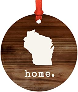 Andaz Press US State Round Metal Christmas Ornament, Rustic Wood Print, Wisconsin, 1-Pack, Includes Ribbon and Gift Bag