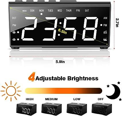 n/úmeros grandes Soldela Radio despertador con estaci/ón de carga: 1 puerto USB alarma y funci/ón Snooze