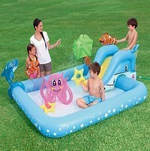 Bestway Inflatable Aquarium Fish Splash Play Paddling Pool Toy Water Spray Slide By