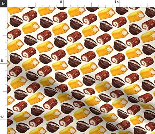Creamy Sponges Fabric - Hostess Cakes Delicious Sweet Treat Naughty Nice Yum Chocolate Vintage Retro Print on Fabric by The Yard - Sport Lycra for Swimwear Performance Leggings Apparel Fashion