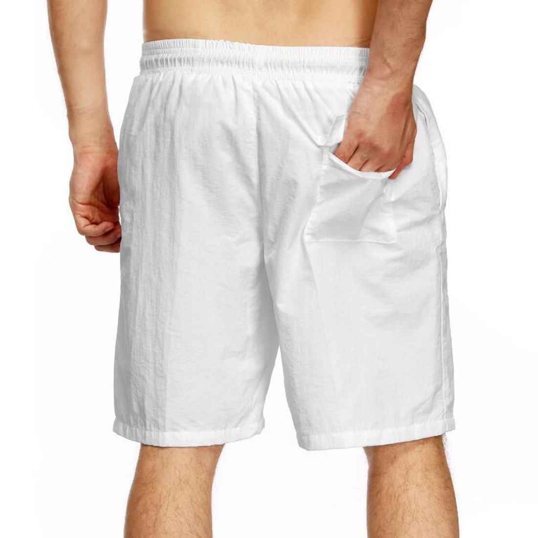 76116cd535d1a3 Badeshorts Herren Jersey Short mit Taschen Loose Beach Board Swim Shorts Badehose  weiß XL E3130S0047 Sportbekleidung