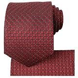 KissTies Burgundy Red Tie Set Solid Necktie + Hanky + Gift Box