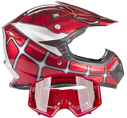 Kids Youth Offroad Gear Combo Helmet & Goggles DOT Motocross ATV Dirt Bike Motorcycle Red Spiderman