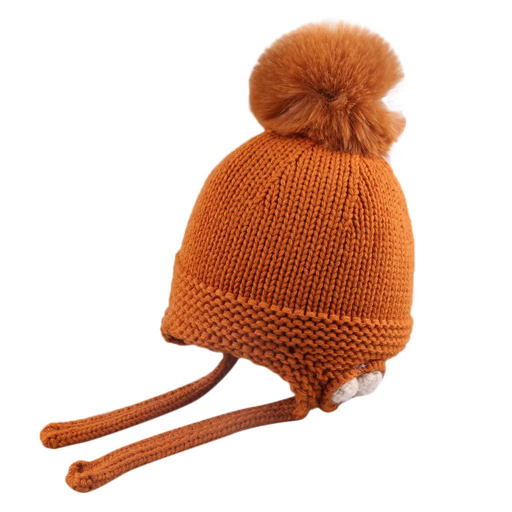 Mitlfuny Ni/ños Ni/ñas Sombreros de Punto Gruesa para Beb/é Invierno Caliente Gorro con Orejeras de Escorpion Color S/ólido Casquillo de Bola de Pelo Beanie Gorras de Croch/é para Reci/én Nacido 0-3 A/ños
