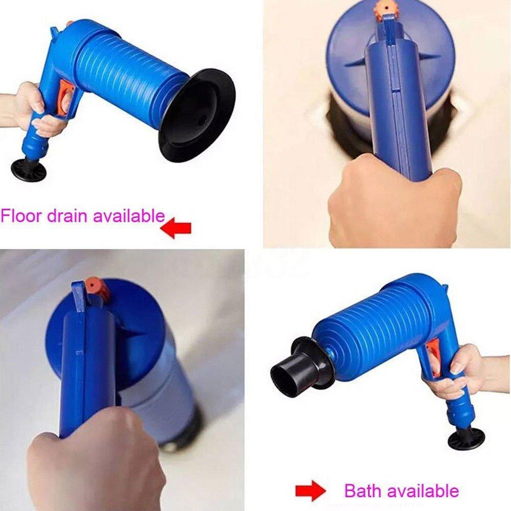 Air Power Drain Blaster gun, High Pressure Powerful Manual sink Plunger Opener cleaner pump for Bath Toilets, Bathroom, Shower, kitchen Clogged Pipe Bathtub, Color Blue