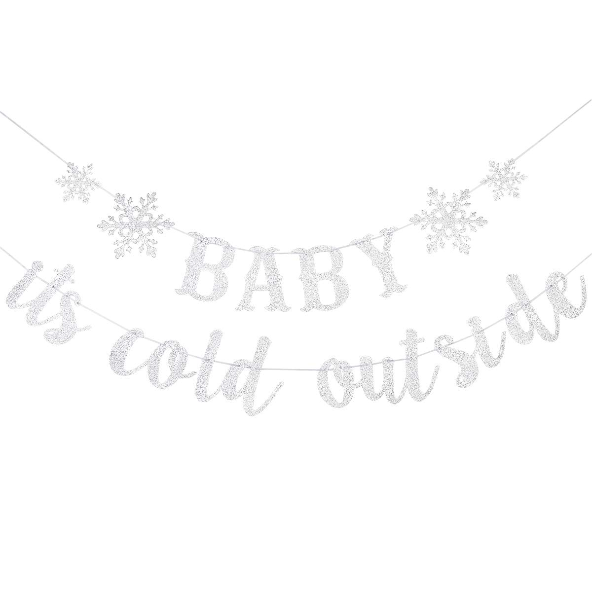 Glittery Baby It's Cold Outside Banner - Winter Snowflake Baby Shower Party Decorations,Kids Birthday Party Decor,Winter Christmas Holiday Theme Party Decor- High Quality & Eco-Friendly