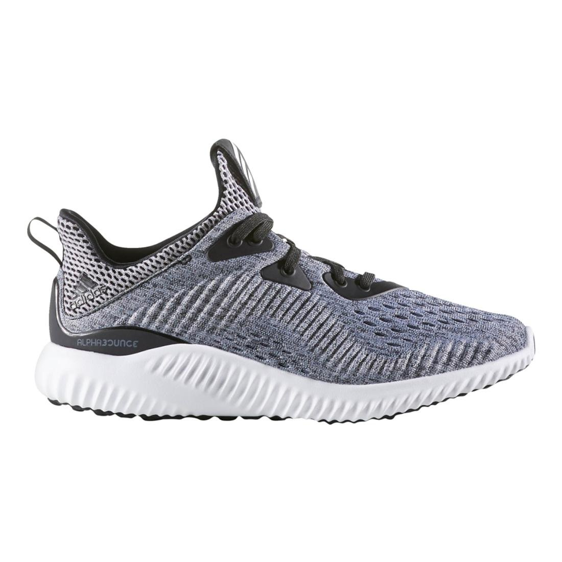 adidas Performance Boys' Alphabounce Em j Running Shoe, Black/White/Black, 4 M US Big Kid