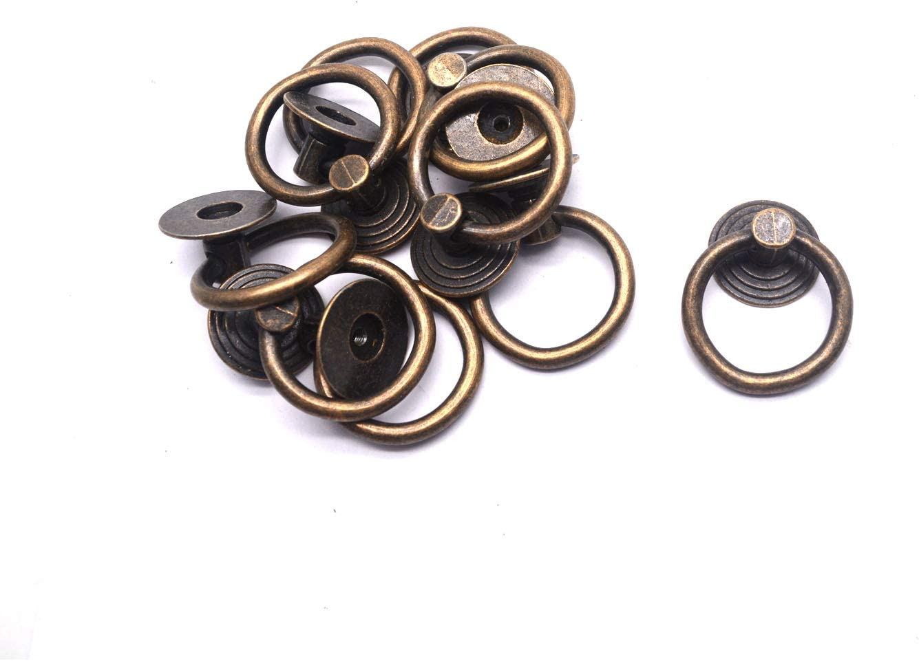 MTMTOOL 10 Pack Cabinet Ring Pulls Vintage Cupboard Drawer Rings Pulls Knob Drop Ring Pull Handles with Screws Bronze Tone