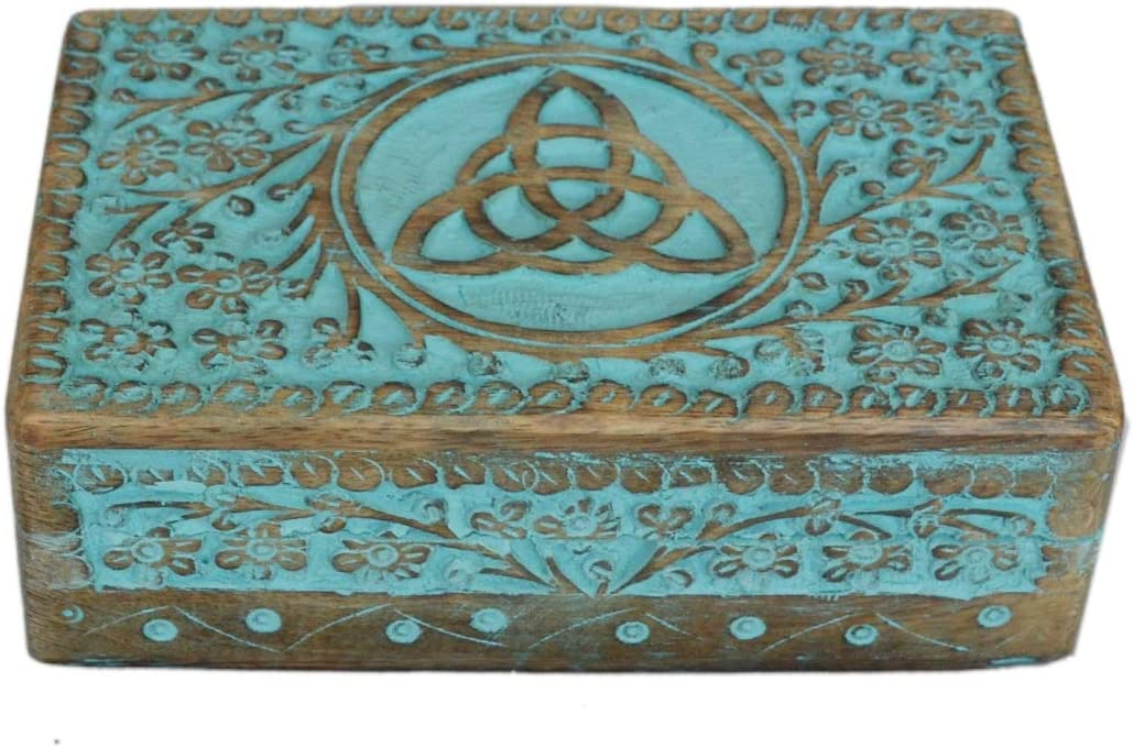 Antique Handmade Wooden Urn with Celtic Knot Design Handcarved Jewellery Box for Women-Men| Home Decor Accents | Decorative Boxes | Storage & Organiser, Greenwashed Offer| Mother's Day Gift