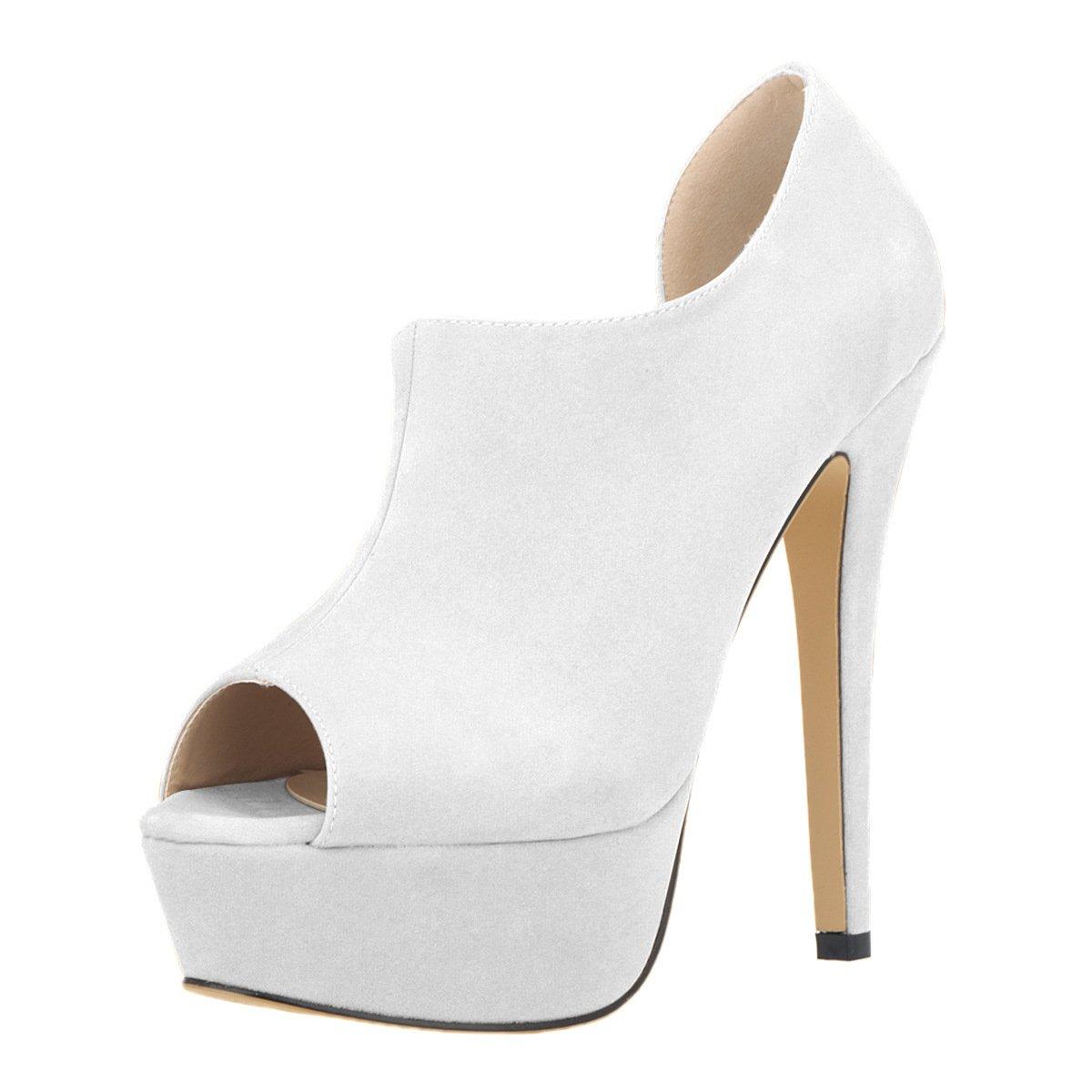 DYF Schuhe kurze Stiefel Stiefel Stiefel Farbe Größe Fisch Mund High Heel Wasserdicht Weiß Fla 39 725d48