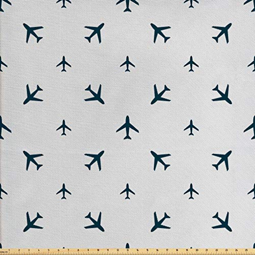 Ambesonne Airplane Fabric by The Yard, Diagonal Stripes with Blue Travel Silhouettes Vacation Aviation, Decorative Fabric for Upholstery and Home Accents, 1 Yard, Petrol Blue